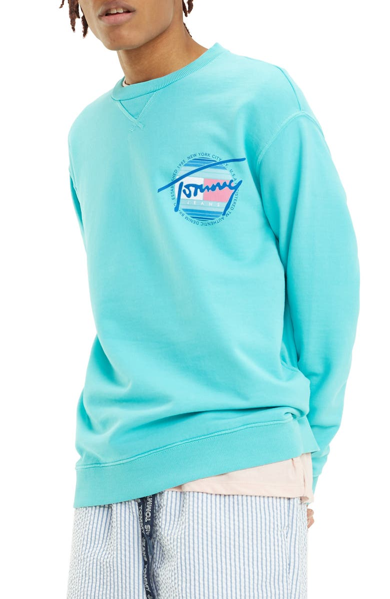 TOMMY JEANS Logo Graphic Sweatshirt, Main, color, CERAMIC