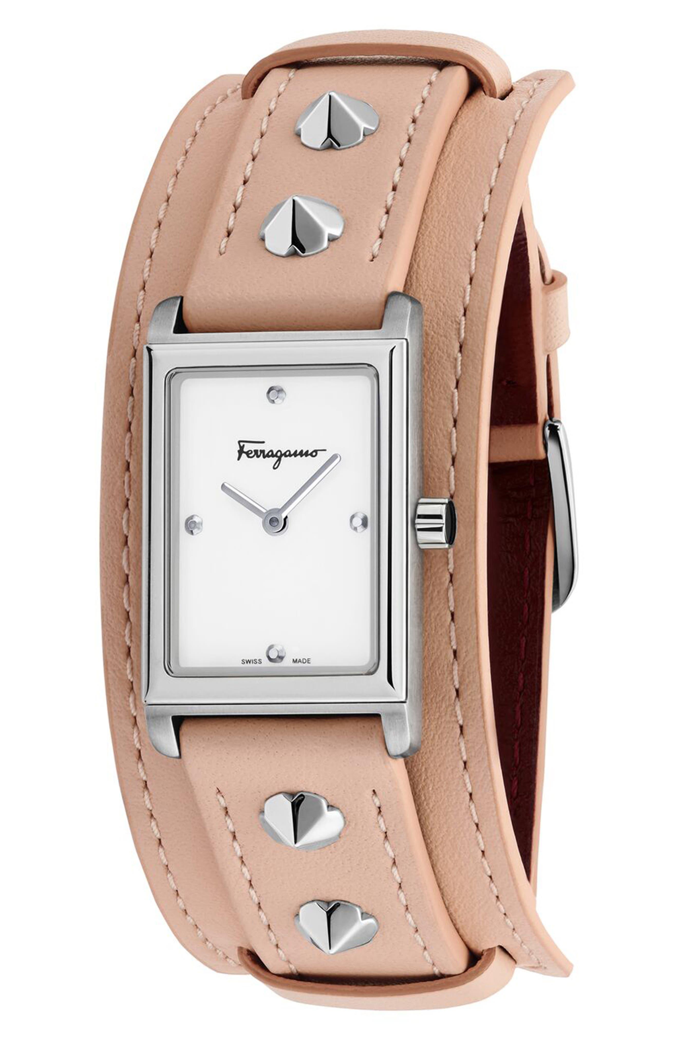 Image of Salvatore Ferragamo Fiore Studs Leather Strap Watch, 34mm