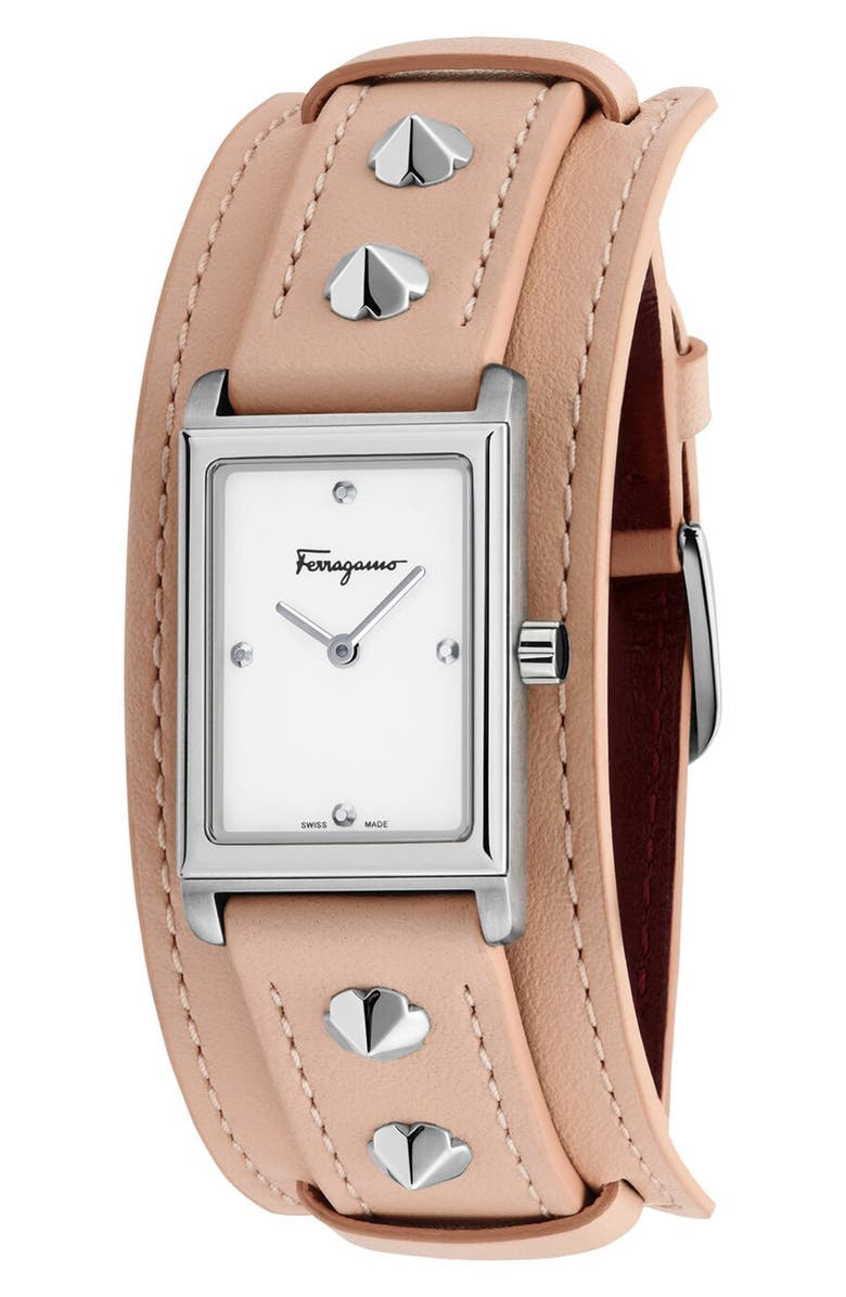 SALVATORE FERRAGAMO Fiore Studs Leather Strap Watch, 34mm, Main, color, PINK/ SILVER
