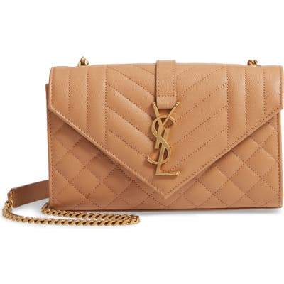 Saint Laurent Small Monogramme Matelasse Quilted Calfskin Shoulder Bag - Brown