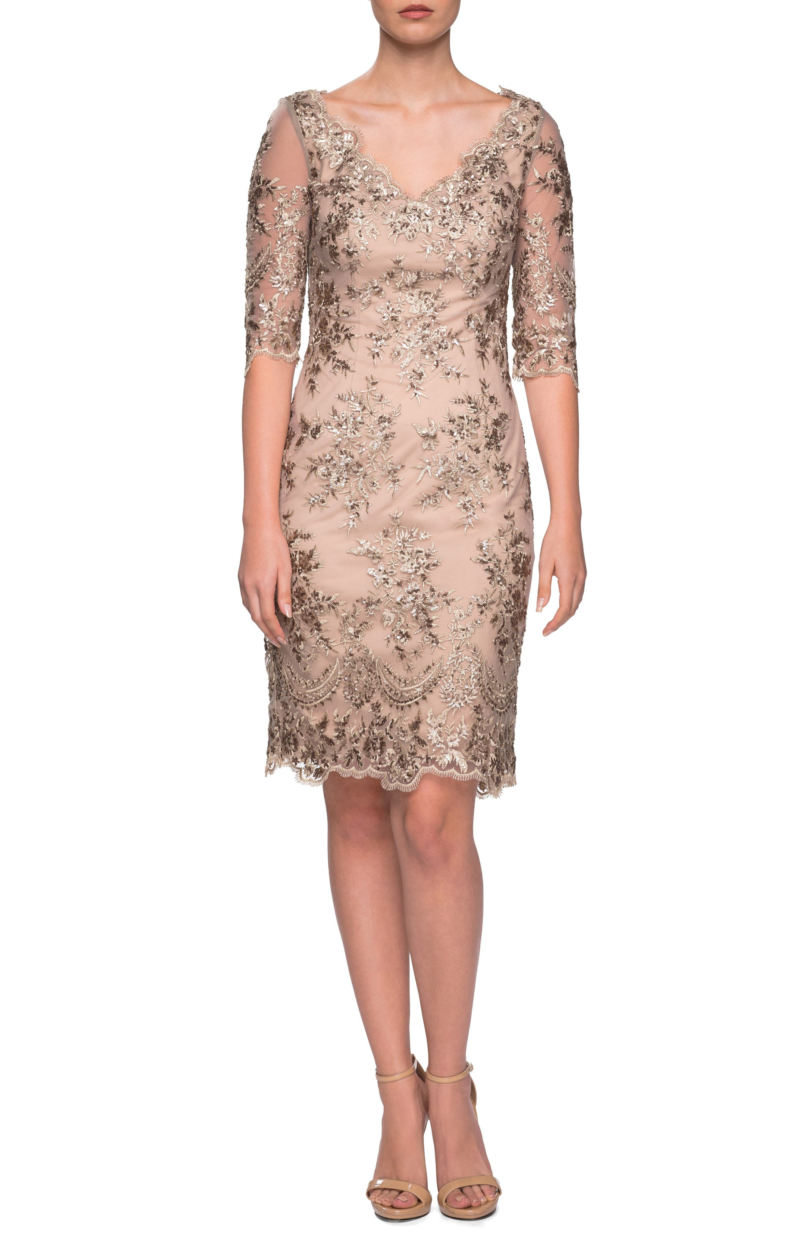 La Femme Embroidered Lace Sheath Dress, Yellow