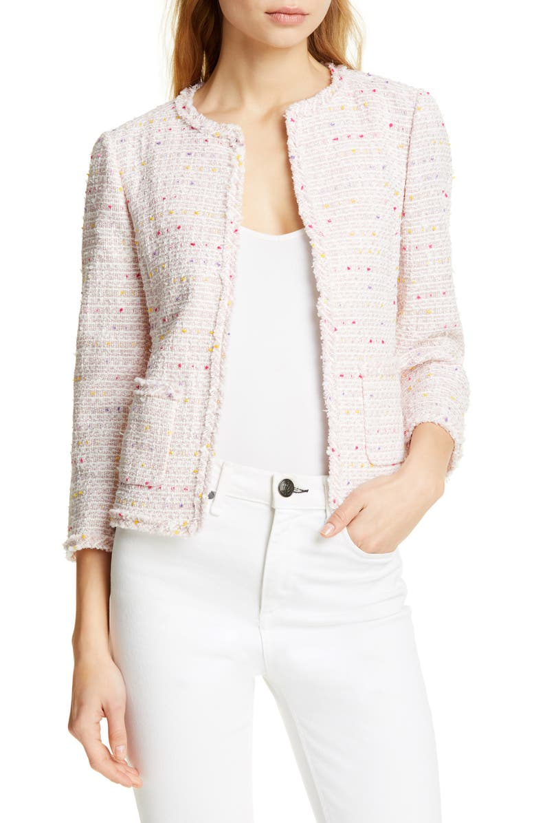 KATE SPADE NEW YORK open tweed jacket, Main, color, 650
