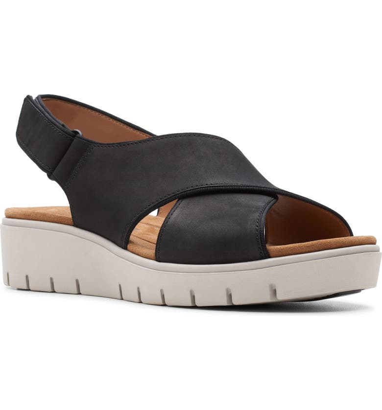 CLARKS<SUP>®</SUP> Un Karely Sun Slingback Sandal, Main, color, BLACK NUBUCK