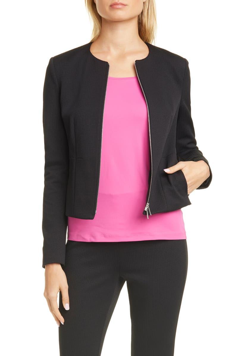 BOSS Jaxine Textured Zip Up Jacket, Main, color, 001