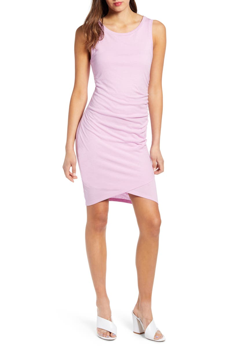 LEITH Ruched Body-Con Tank Dress, Main, color, PINK BOUQUET HEATHER