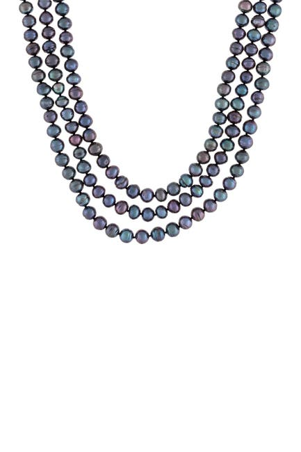 Image of Splendid Pearls 7-7.5mm Dyed Black Cultured Freshwater Pearl Endless Necklace