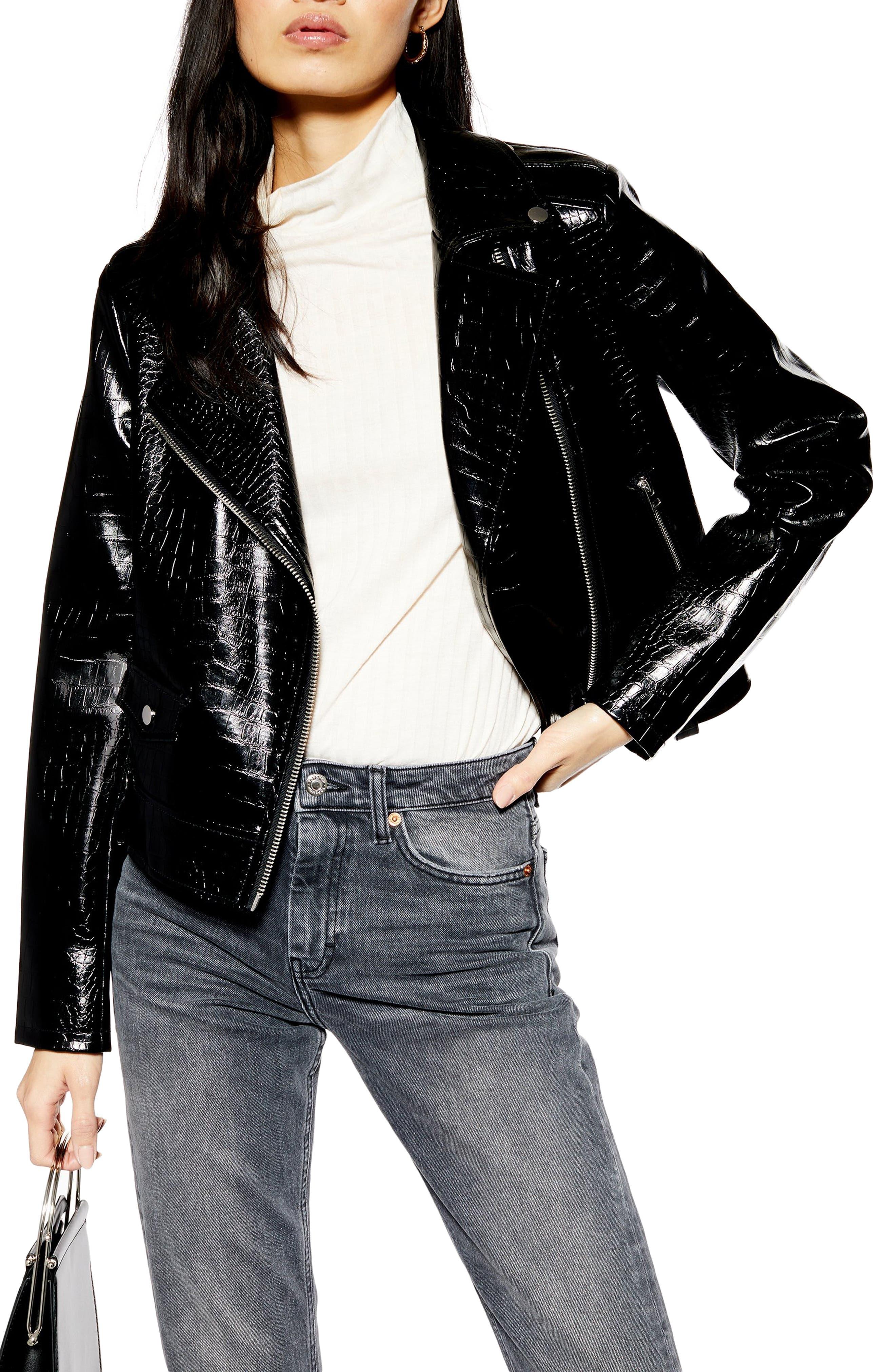 ,                             Croc Embossed Faux Leather Jacket,                             Main thumbnail 1, color,                             BLACK