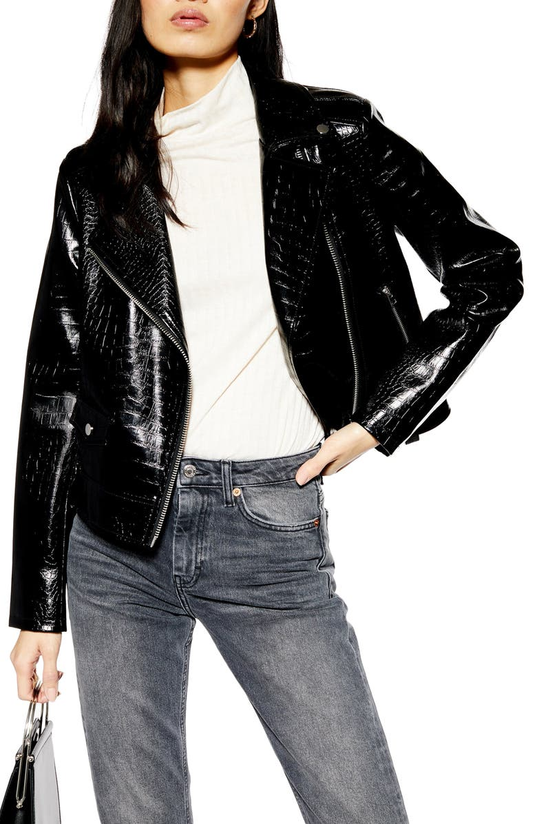 TOPSHOP Croc Embossed Faux Leather Jacket, Main, color, BLACK