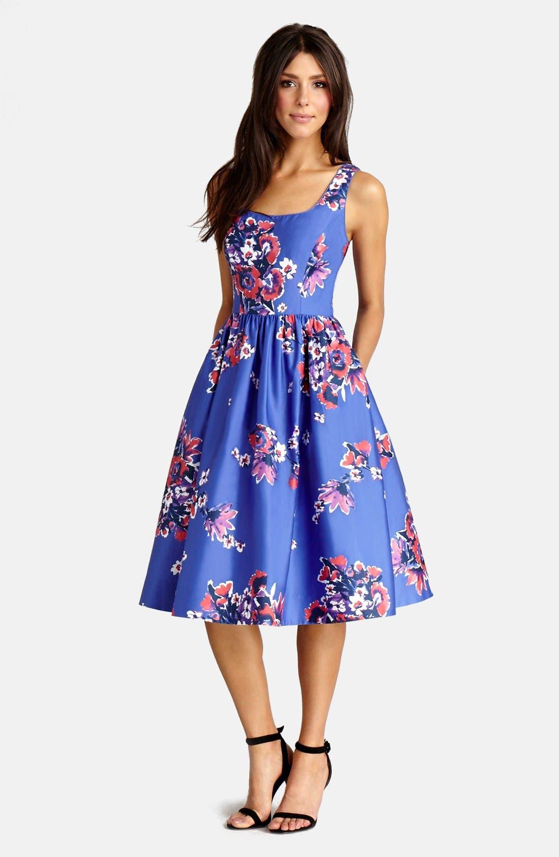,                             Print Cotton Blend Midi Dress,                             Main thumbnail 3, color,                             541