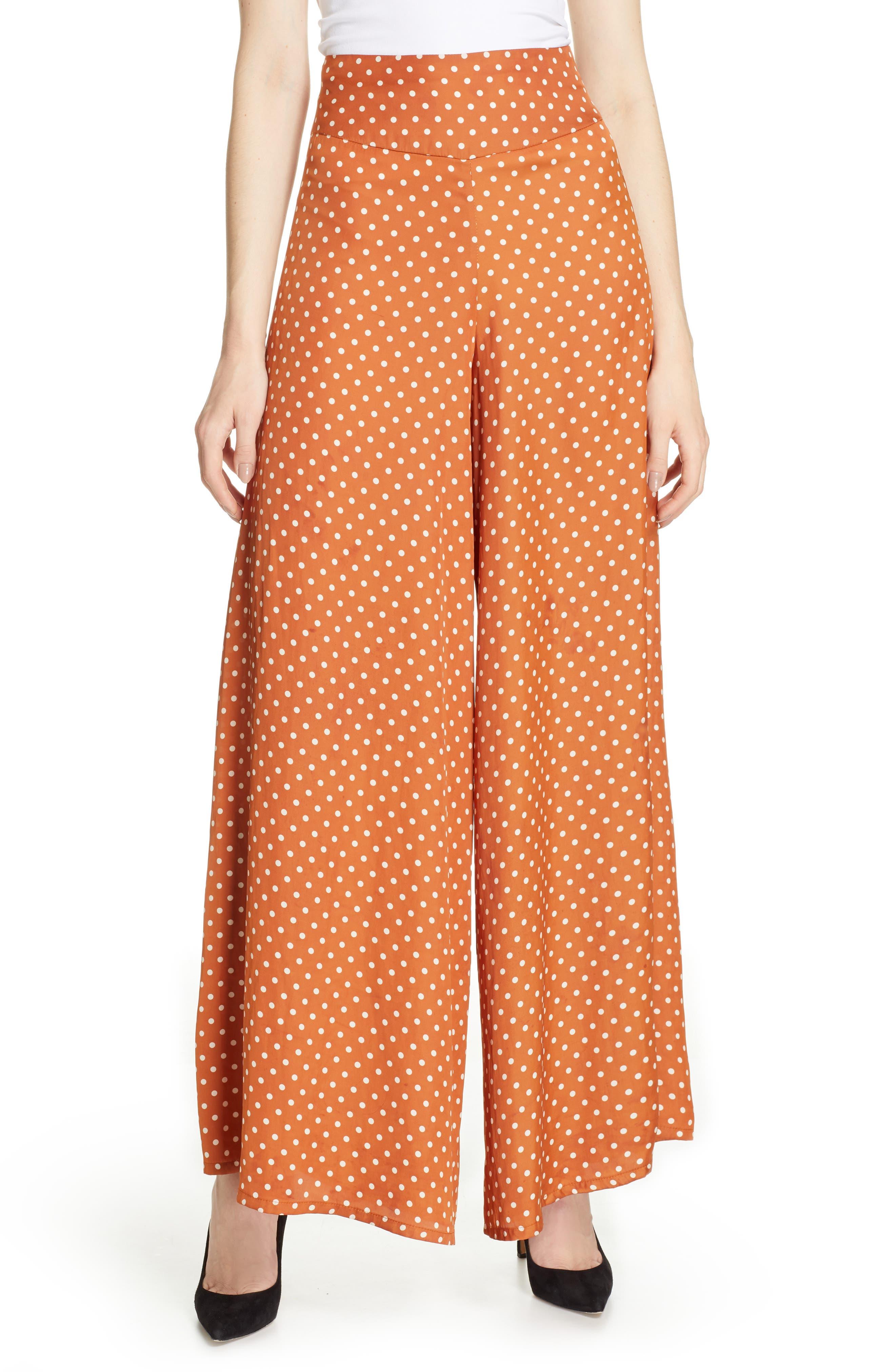 1930s Wide Leg Pants and Beach Pajamas Womens Smythe Polka Dot Palazzo Pants $197.98 AT vintagedancer.com