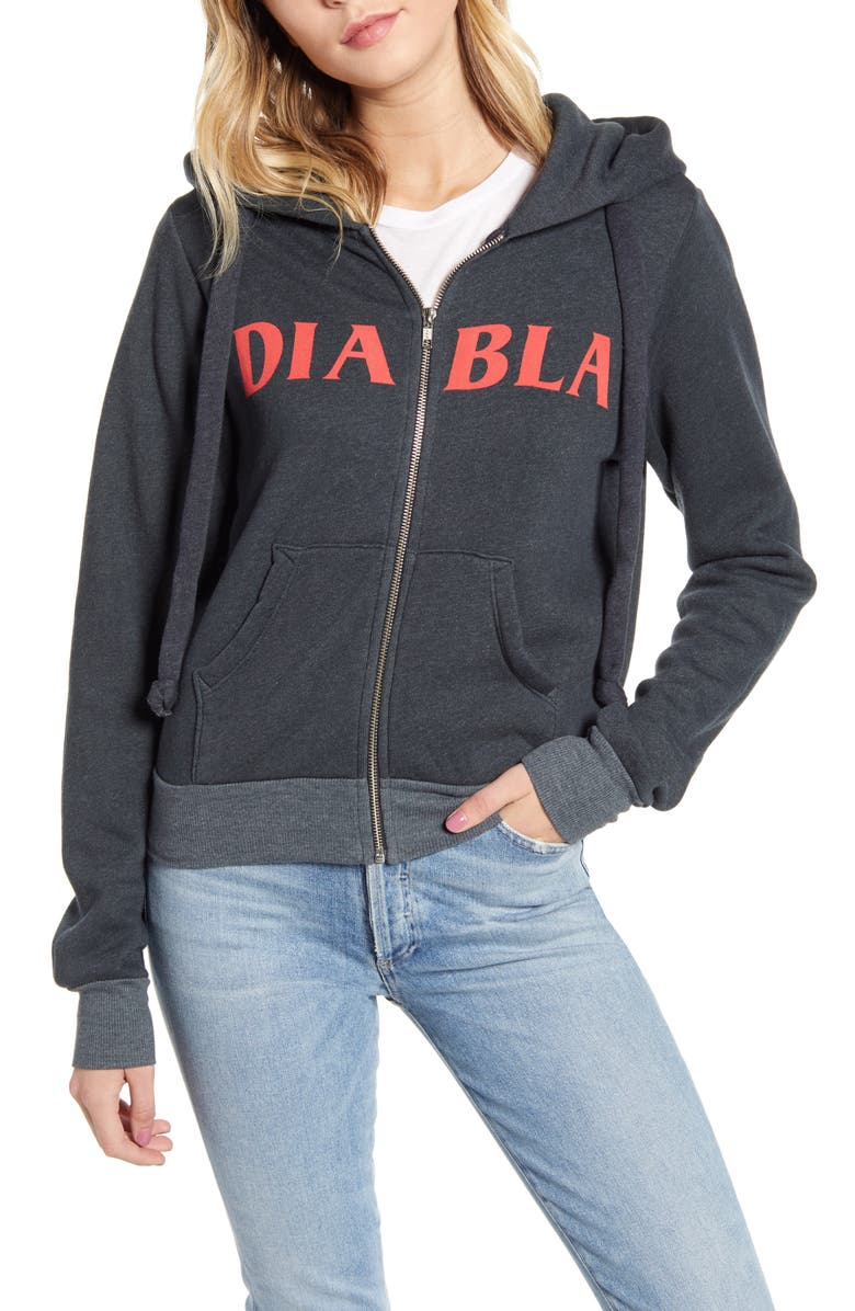 WILDFOX Diabla Carta Devil Zip Hoodie, Main, color, NIGHT