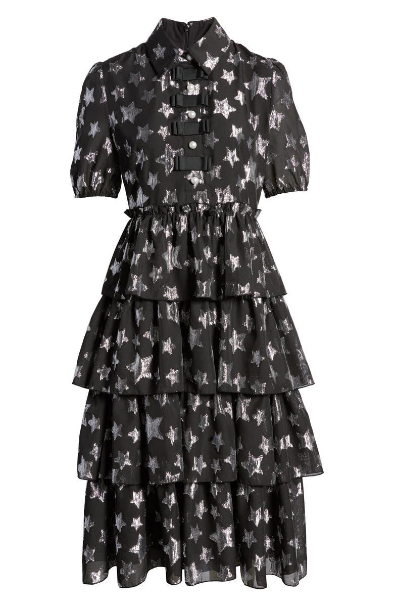 HALOGEN<SUP>®</SUP> x Atlantic-Pacific Metallic Star Chiffon Dress, Main, color, BLACK- SILVER STARLIGHT PTN