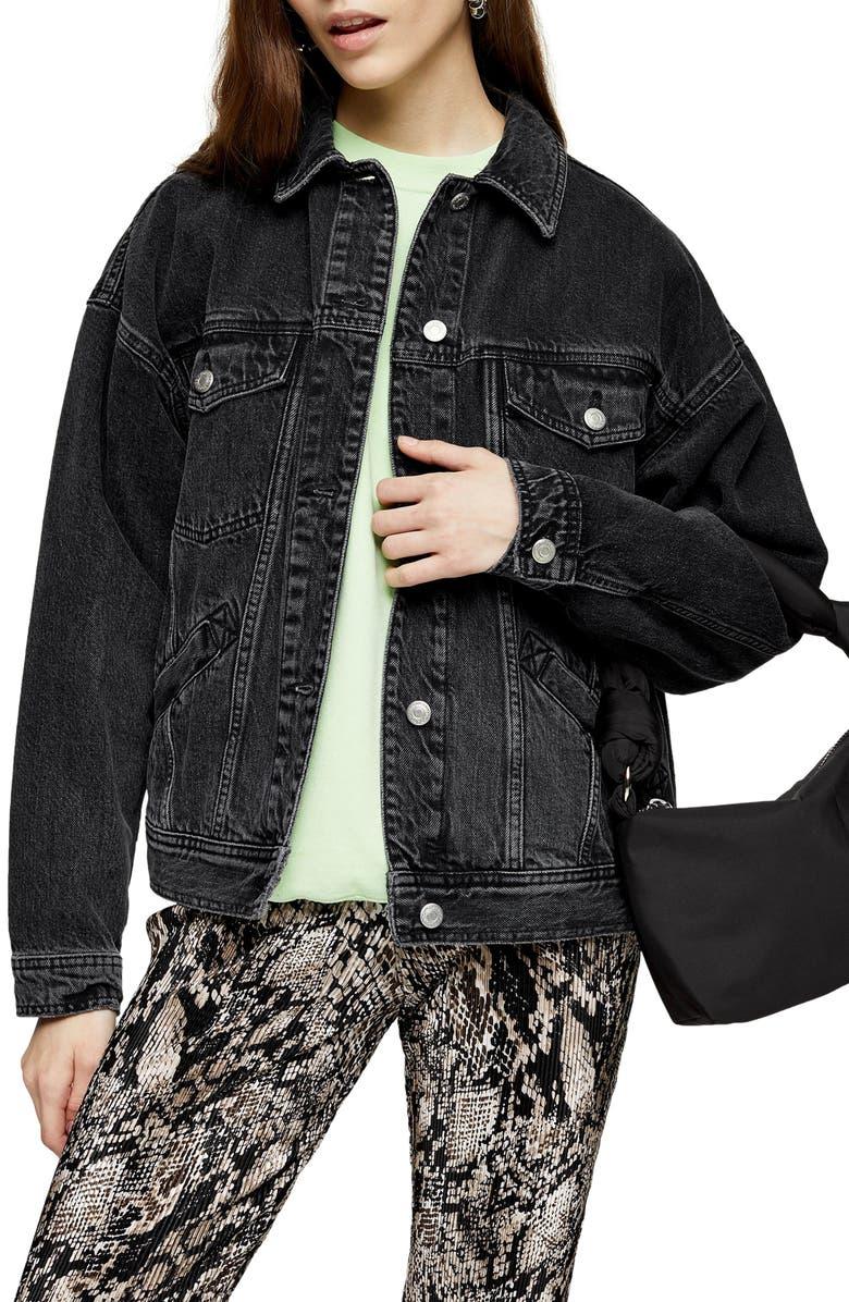 TOPSHOP Oversized Denim Jacket, Main, color, WASHED BLACK