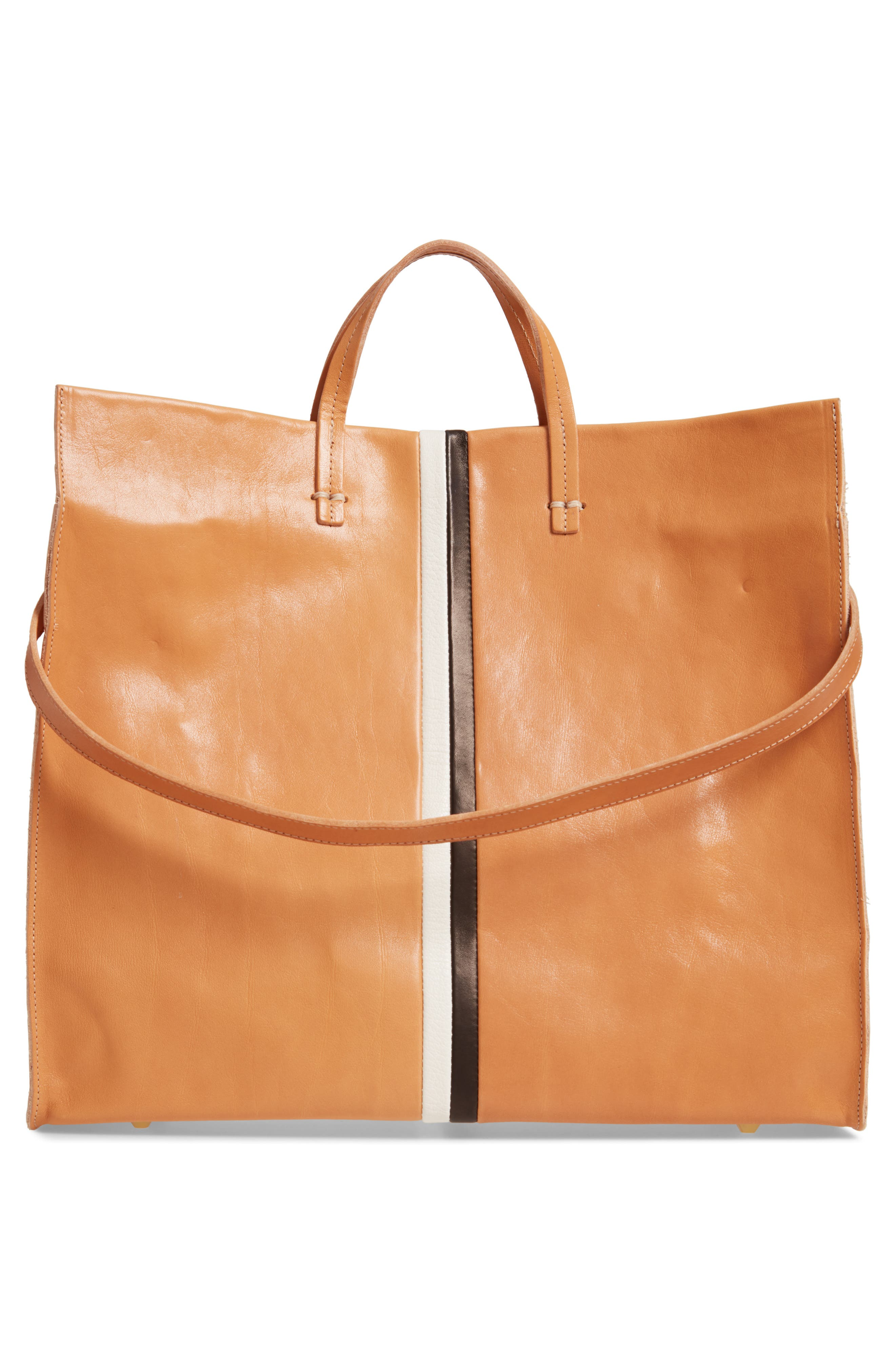 ,                             Simple Stripe Leather Tote,                             Alternate thumbnail 4, color,                             200