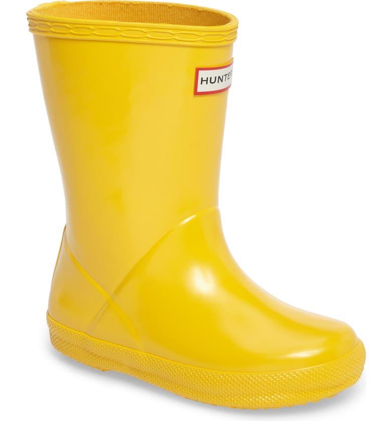 HUNTER 'First Gloss' Rain Boot, Main, color, YELLOW GLOSS