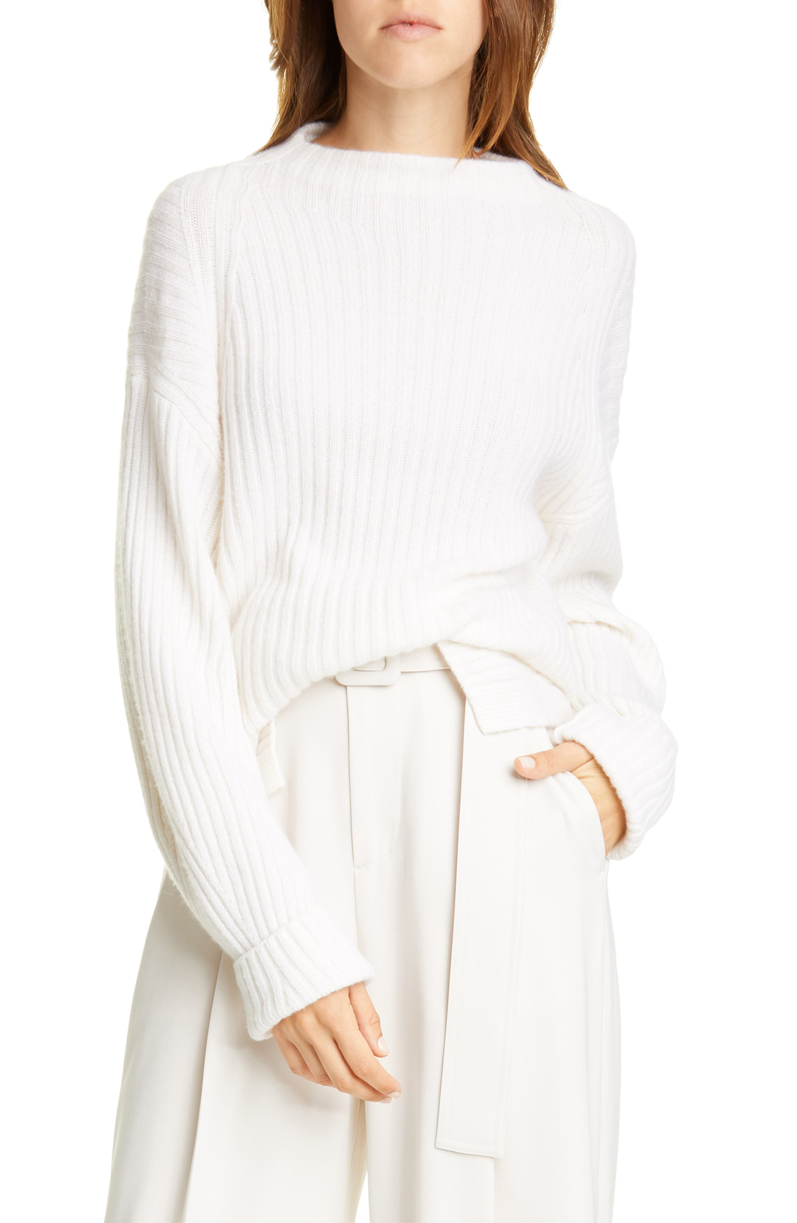 Image of Vince Ribbed Mock Neck Wool & Cashmere Sweater
