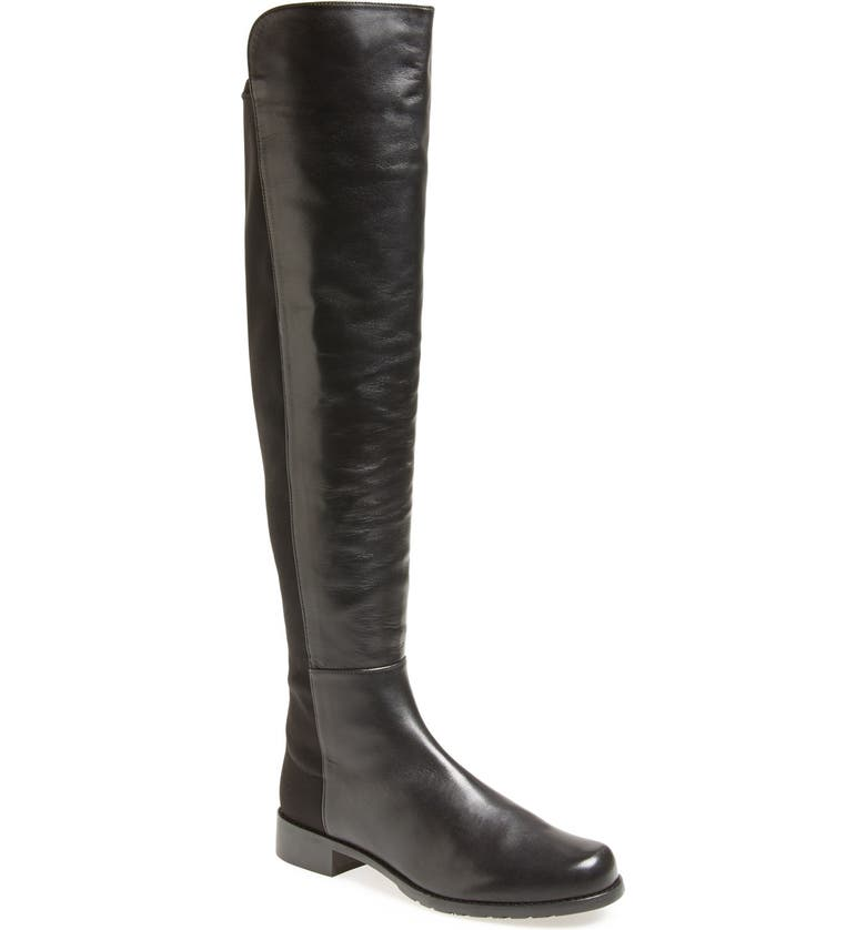 STUART WEITZMAN 5050 Over the Knee Leather Boot, Main, color, BLACK NAPPA