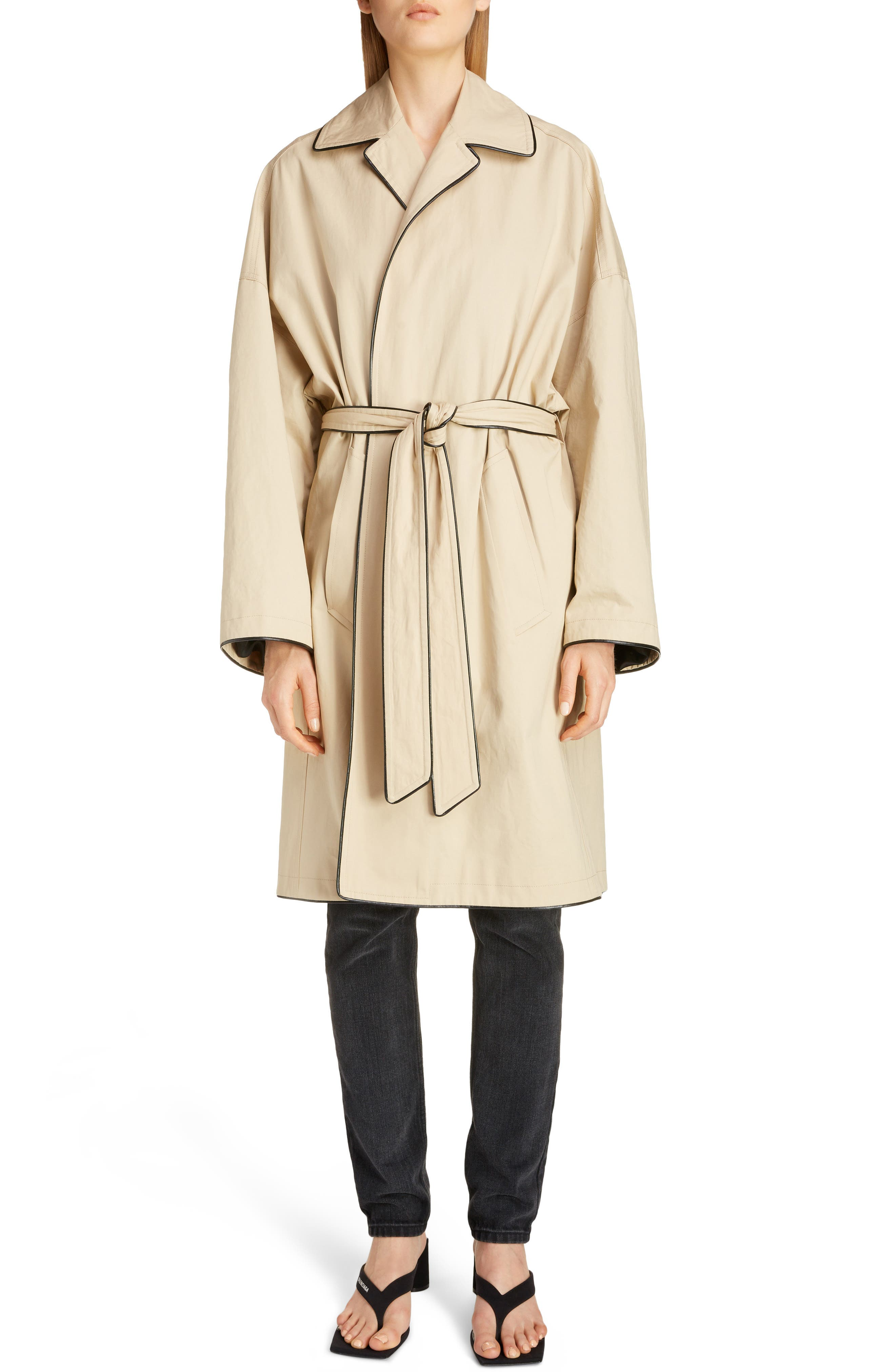 Image of Balenciaga Water Repellent Piped Cotton Cocoon Trench Coat