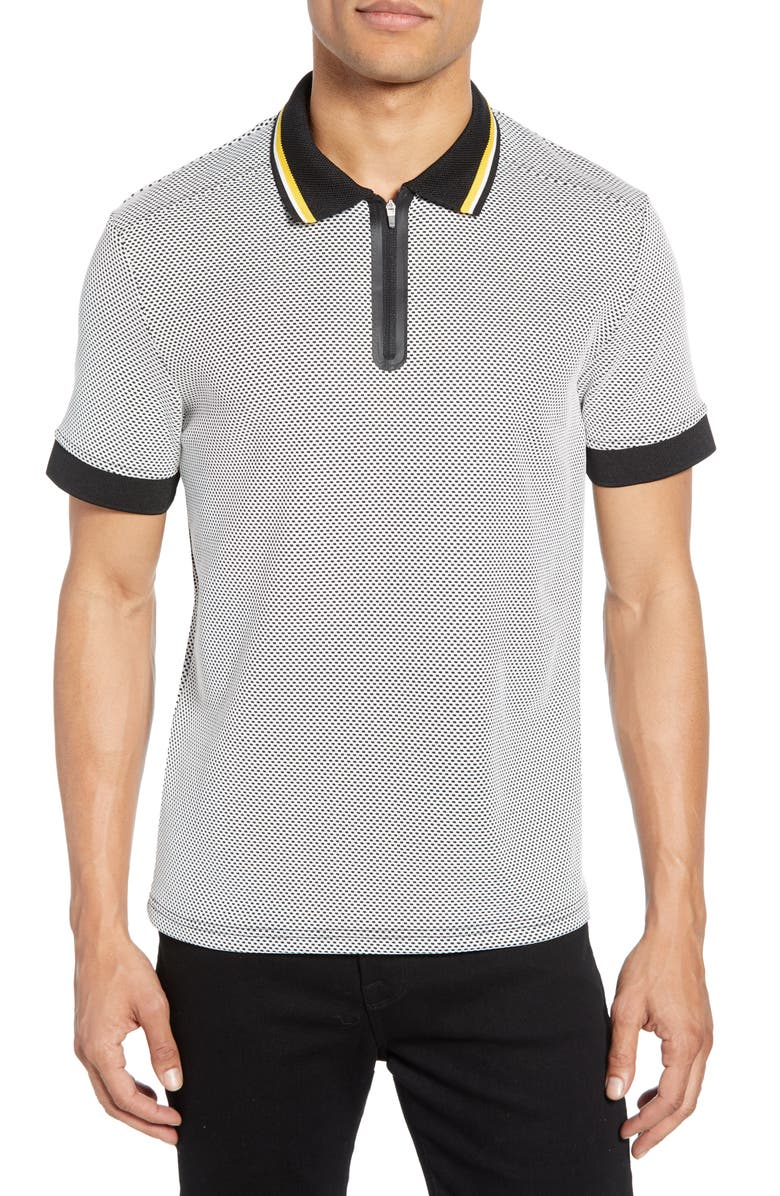 VINCE CAMUTO Slim Fit Zip Performance Polo, Main, color, 100