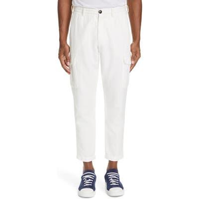 Eleventy Cotton & Linen Cargo Dress Pants White
