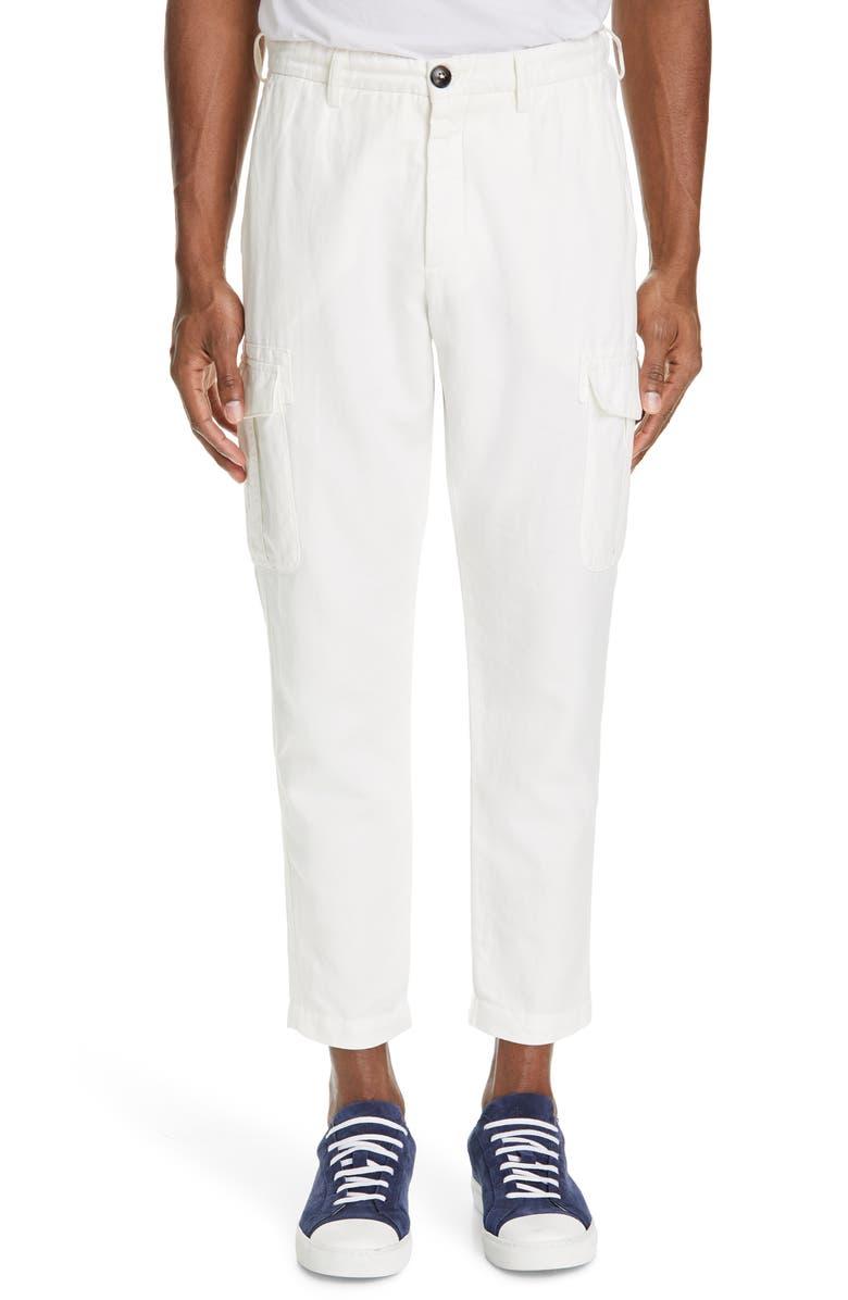 ELEVENTY Cotton & Linen Cargo Dress Pants, Main, color, 102