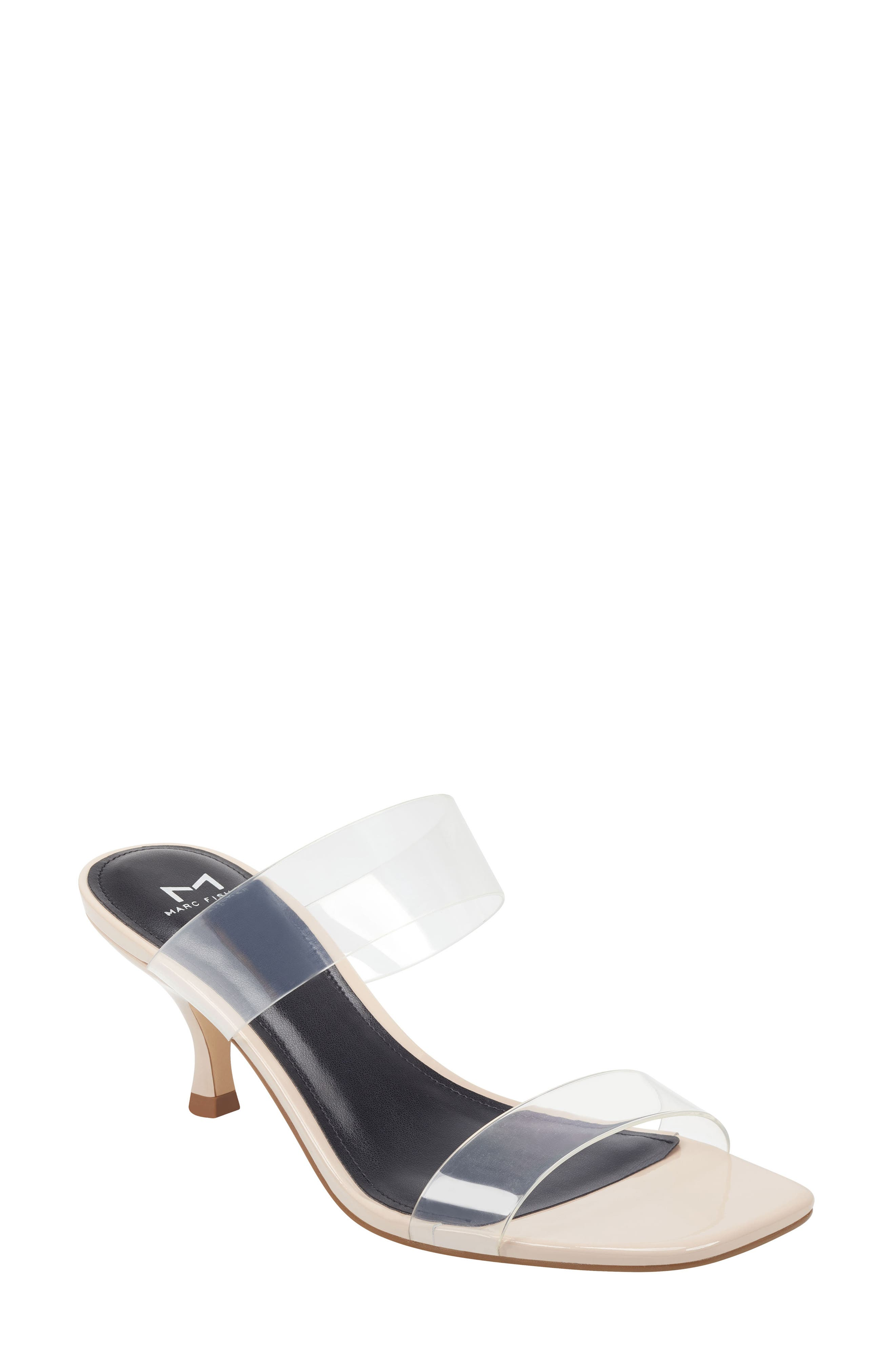 Take on this season\\\'s translucent trend with this two-band slide sandal set upon a slightly flared heel. Style Name: Marc Fisher Ltd Guadia Sandal (Women). Style Number: 5994012 3. Available in stores.