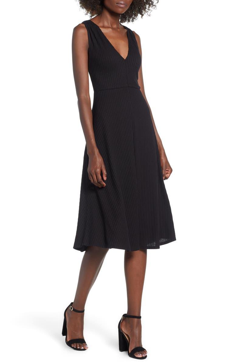 SOCIALITE Rib Knit Midi Dress, Main, color, 001