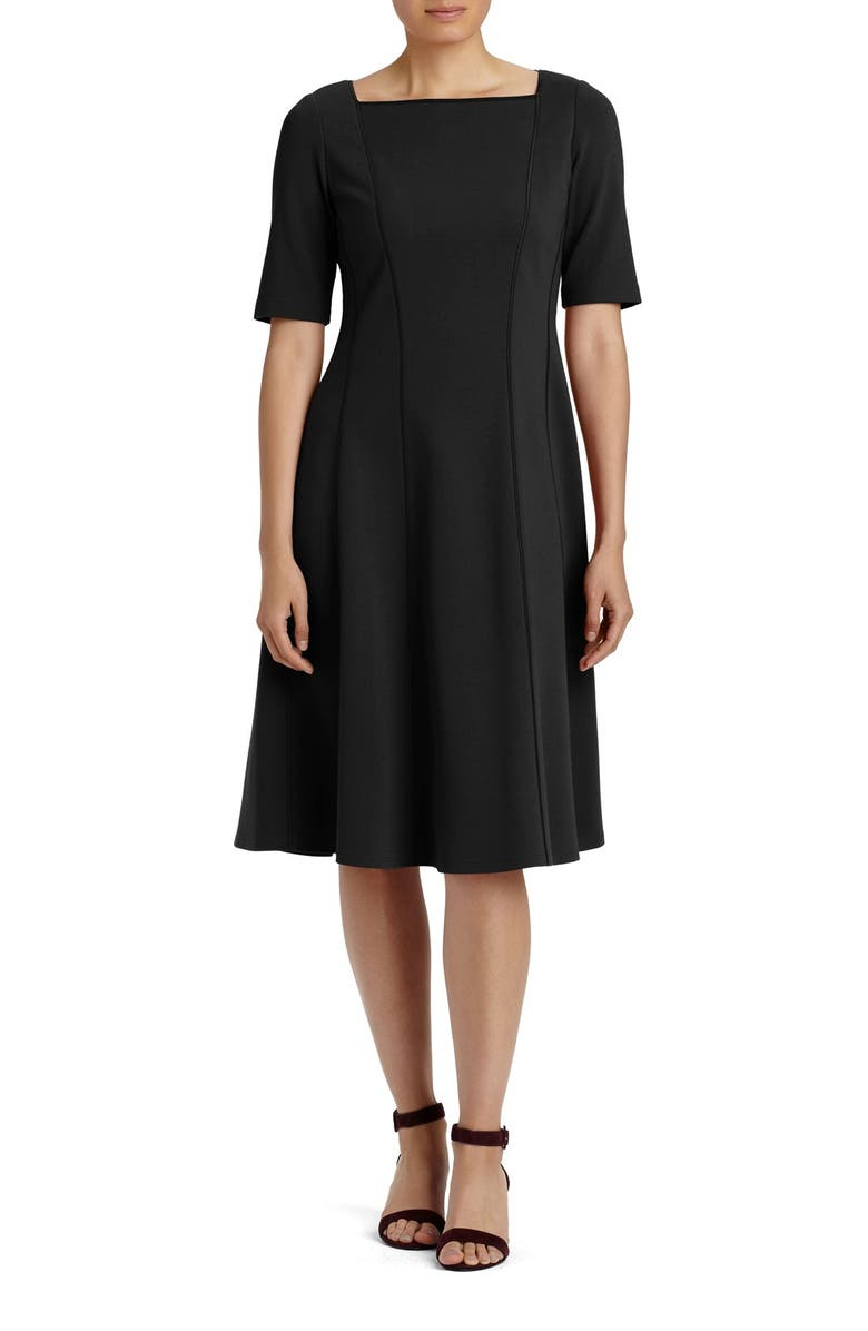 LAFAYETTE 148 NEW YORK Punto Milano Elbow Sleeve Fit & Flare Dress, Main, color, 001