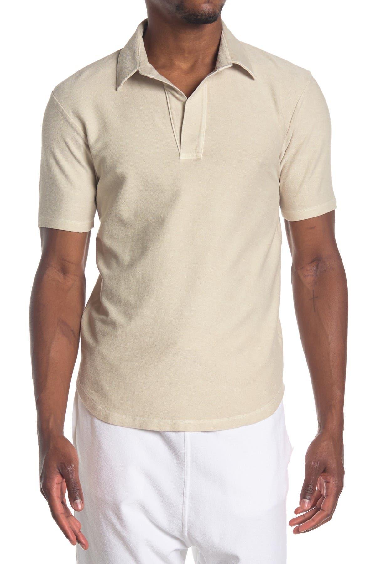 1930s Mens Shirts | Dress Shirts, Polo Shirts, Work Shirts Goodlife Sun Faded Reverso Curve Hem Polo - Oyster at Nordstrom Rack $59.97 AT vintagedancer.com