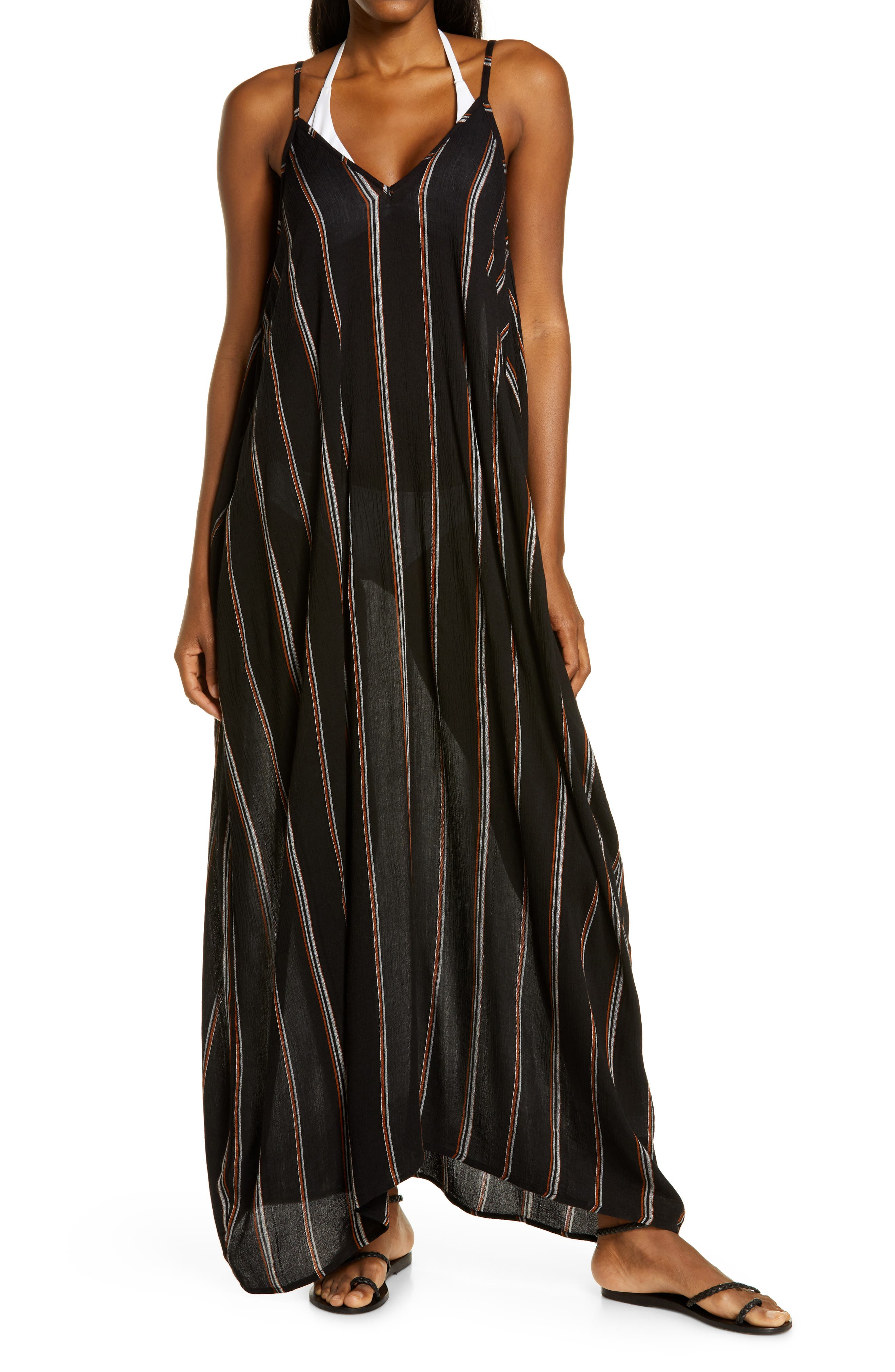 Stripe Cover-Up Maxi Dress