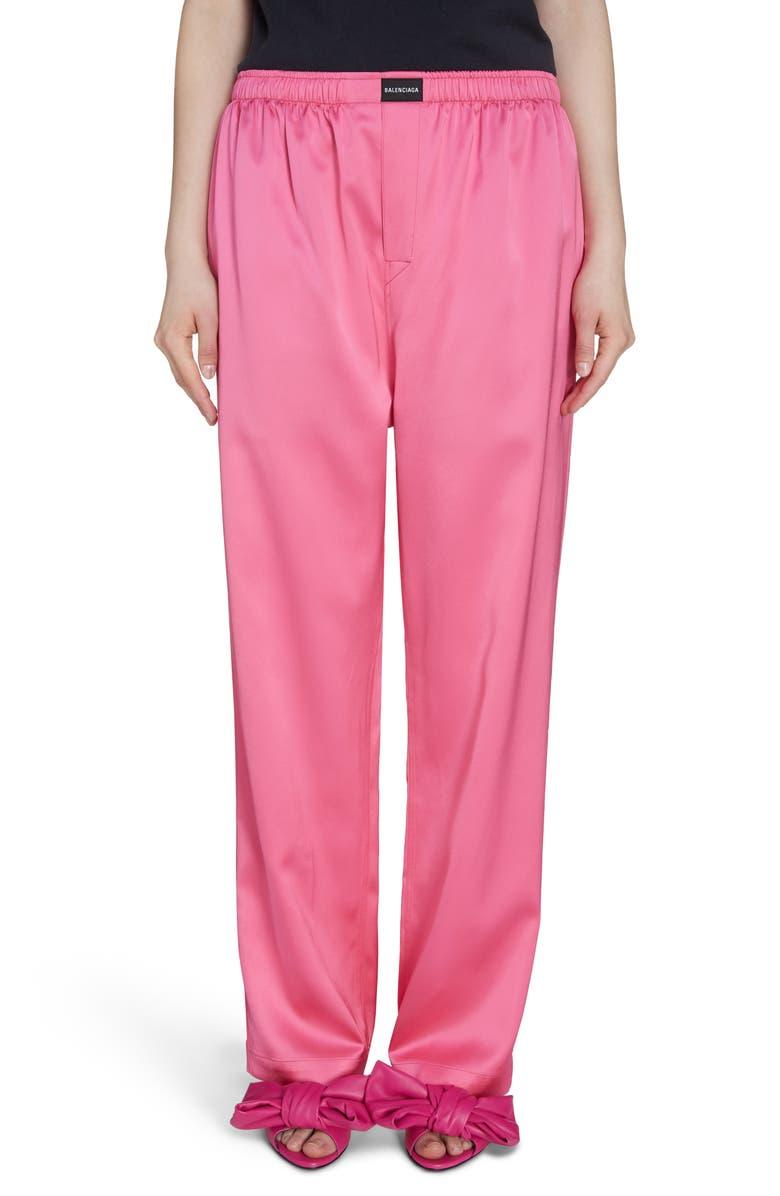 BALENCIAGA Stretch Satin Pants, Main, color, SHOCKING PINK