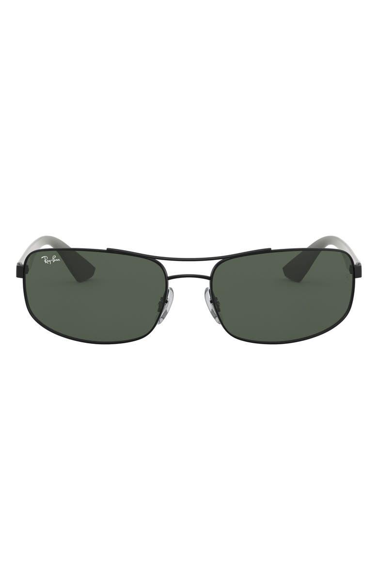 RAY-BAN 61mm Rectangular Sunglasses, Main, color, MATTE BLACK