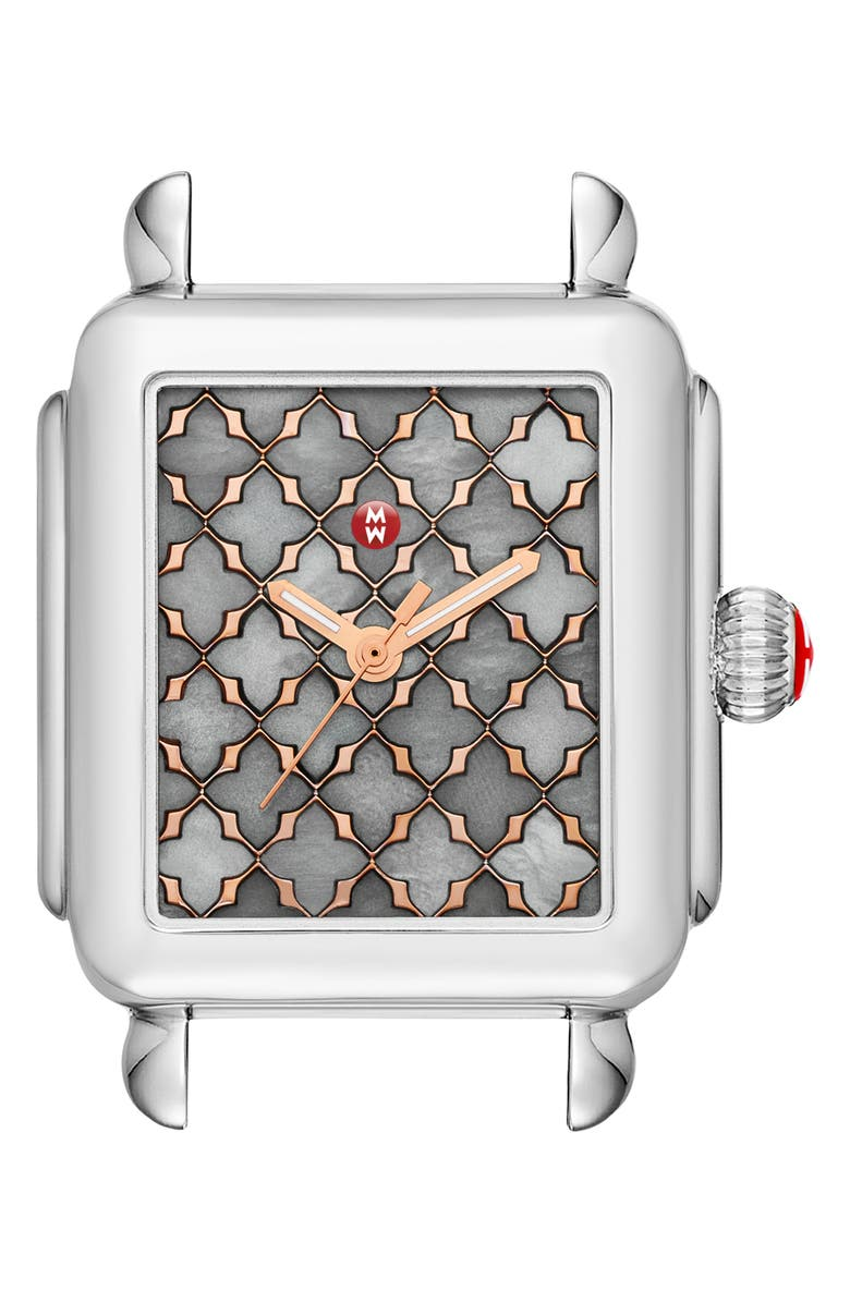 MICHELE Deco Mosaic Square Watch Head, 33mm x 35mm, Main, color, SILVER/ GREY MOP/ ROSE GOLD