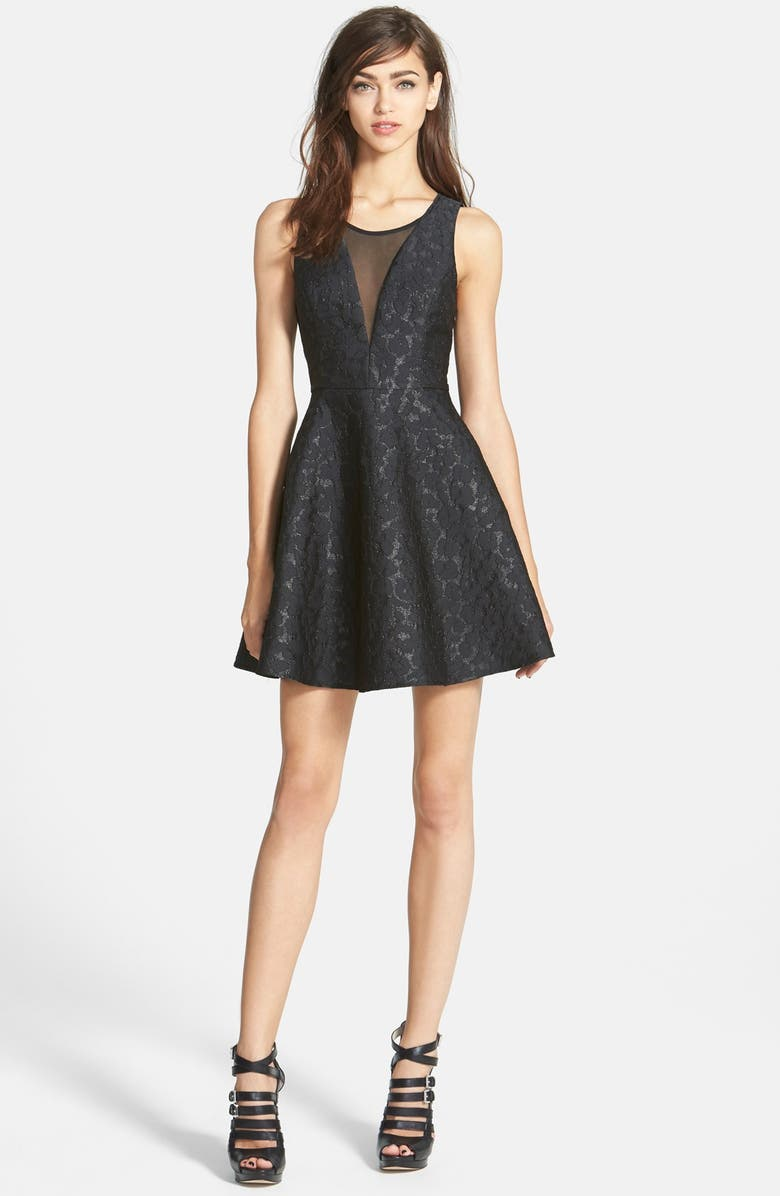 ASTR THE LABEL ASTR Jacquard Fit & Flare Dress, Main, color, 001