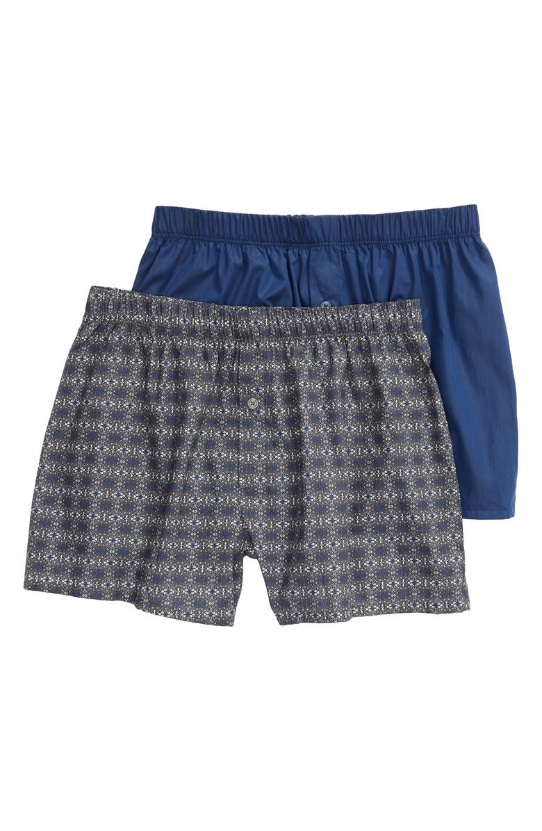 HANRO 2-Pack Fancy Woven Boxers, Main, color, MINIMAL ORNAMENT/ ROYAL BLUE