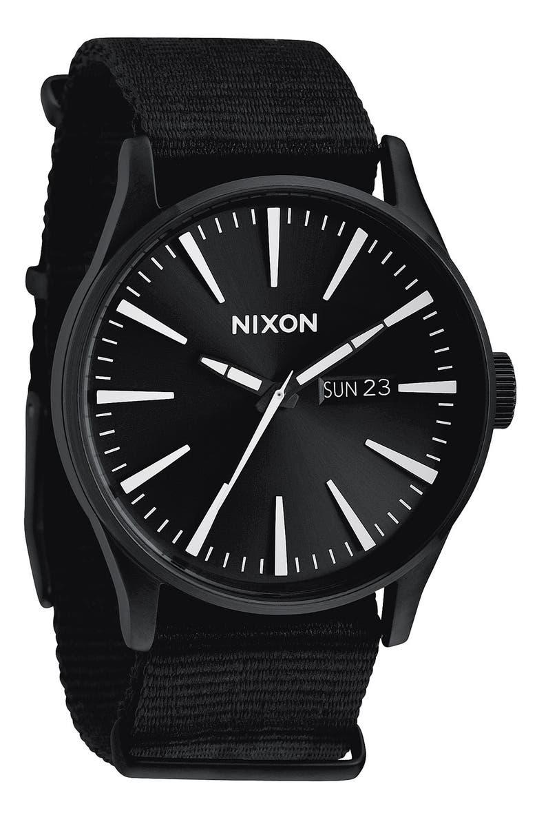 NIXON 'The Sentry' Nylon Strap Watch, Main, color, 001