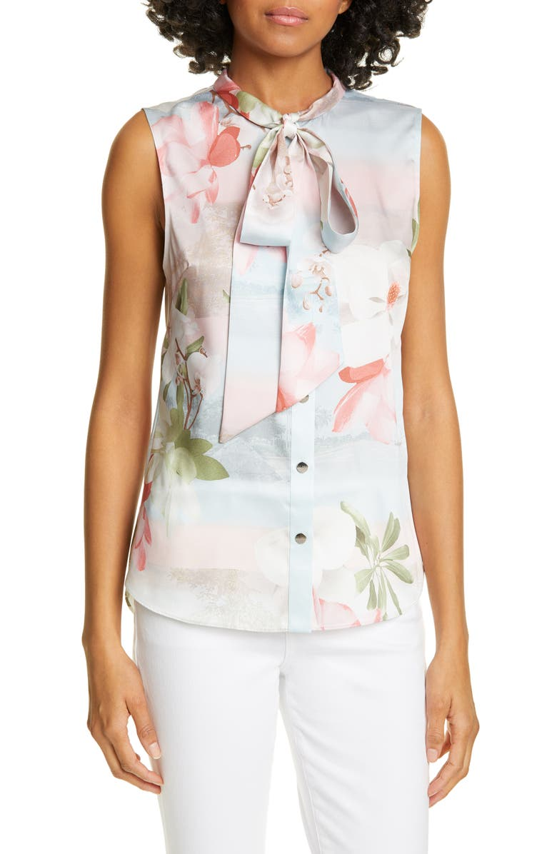 TED BAKER LONDON Kaileye Tie Neck Top, Main, color, 452