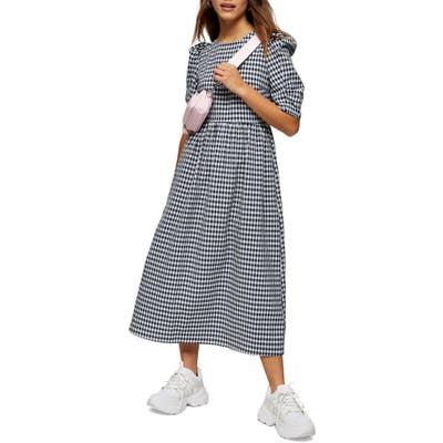 Petite Topshop Gingham Midi Dress, P US - Blue