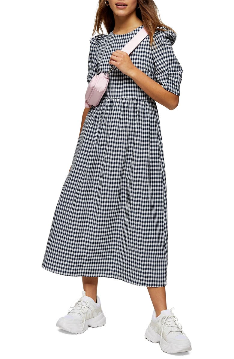 TOPSHOP Gingham Midi Dress, Main, color, NAVY BLUE