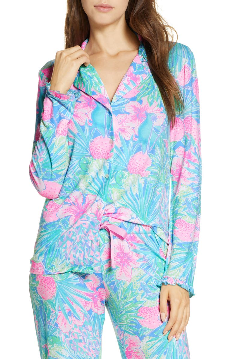 LILLY PULITZER<SUP>®</SUP> Ruffle Cuff Pajama Top, Main, color, MULTI SWIZZLE IN REDUCED
