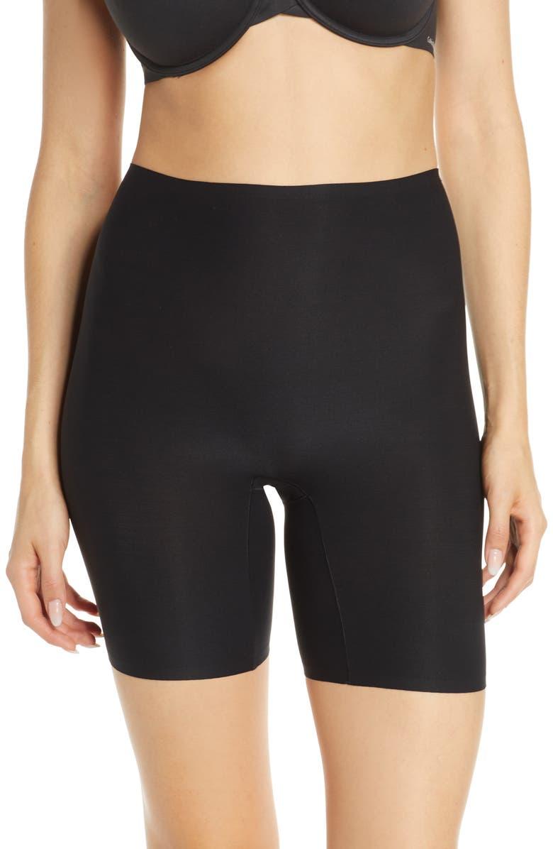 CHANTELLE LINGERIE Soft Stretch Seamless High Waist Mid-Thigh Shorts, Main, color, BLACK