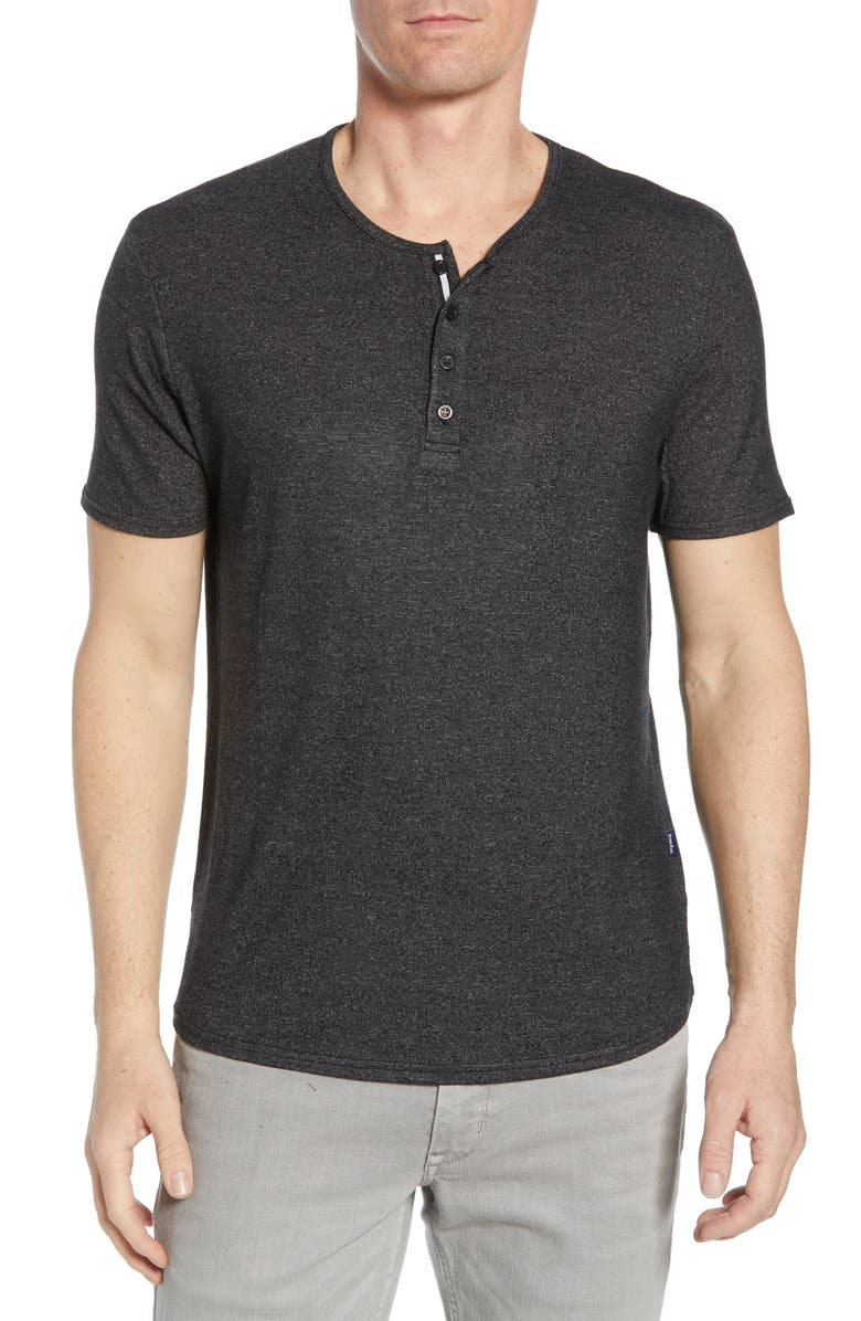 STONE ROSE Stretch Regular Fit Henley, Main, color, CHARCOAL