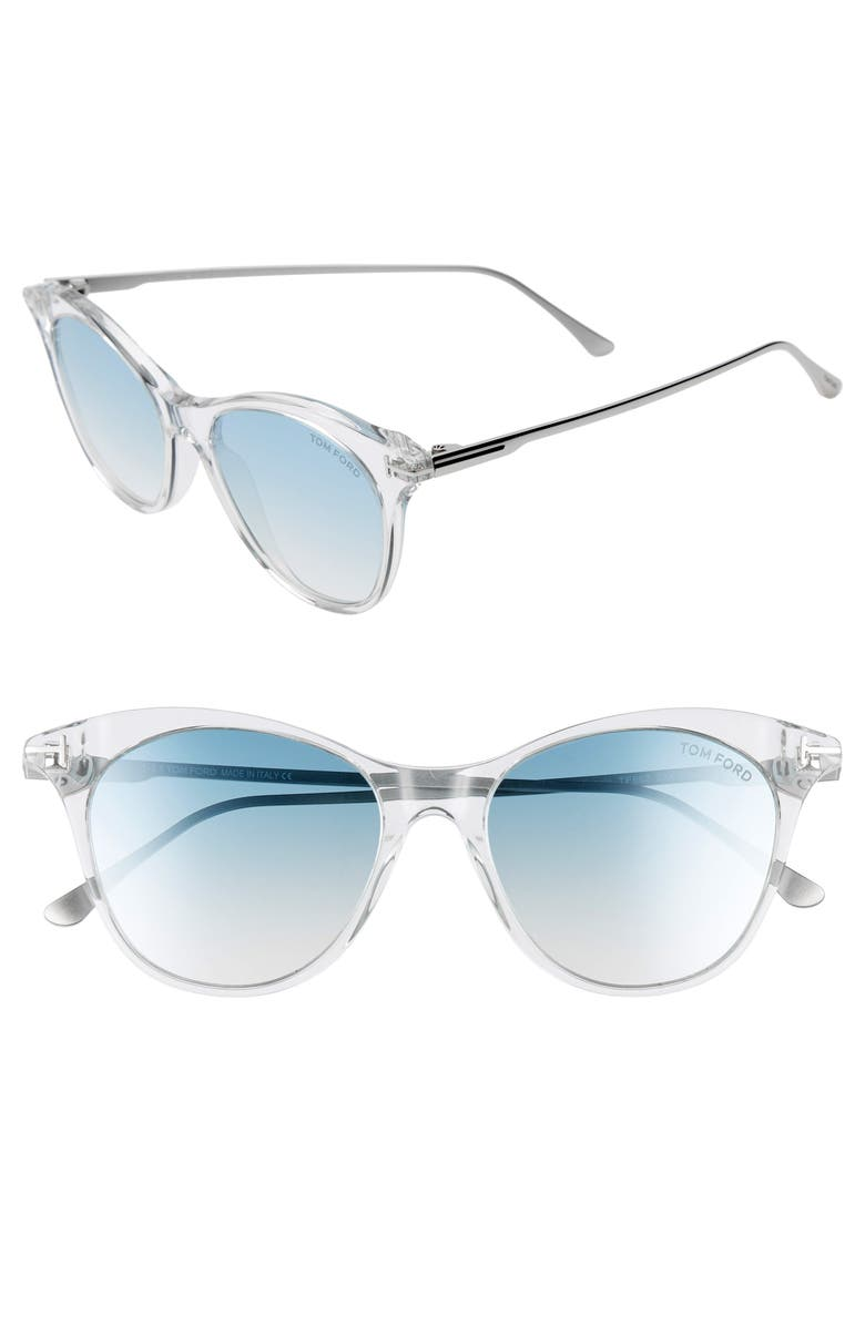 TOM FORD Micaela 53mm Cat Eye Sunglasses, Main, color, CRYSTAL/ PALLADIUM/ GRN SILV