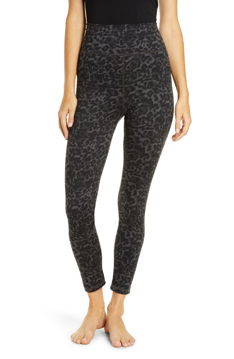 SOCIALITE Leopard Print High Waist Leggings, Main, color, BLACK CHARCOAL