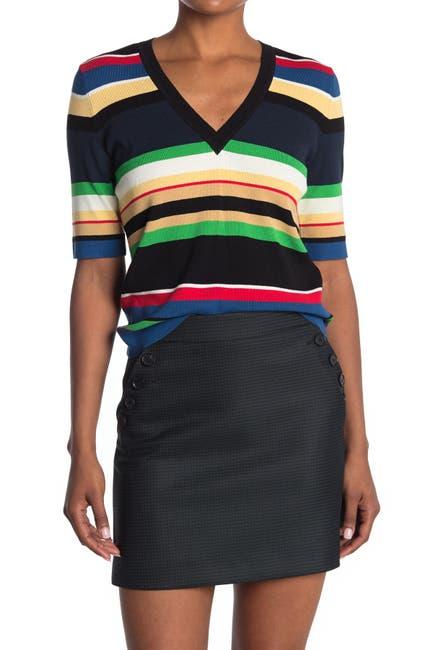 Image of VERONICA BEARD Myra Stripe V-Neck Sweater