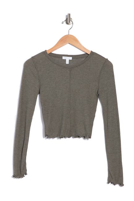 Image of Abound Long Sleeve Lettuce Edge Top