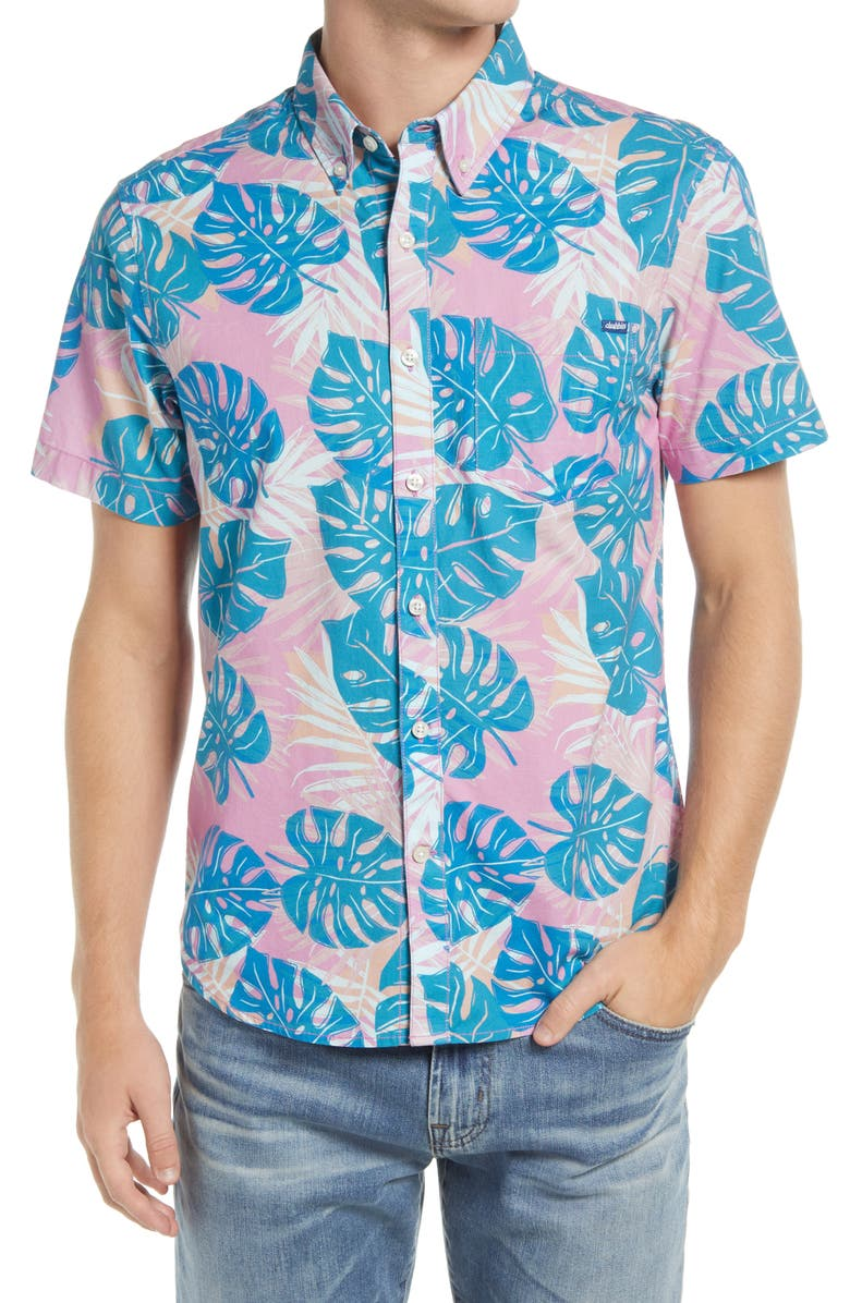 CHUBBIES The Remote Breeze Short Sleeve Stretch Button-Down Shirt, Main, color, LIGHT/ PASTEL PINK