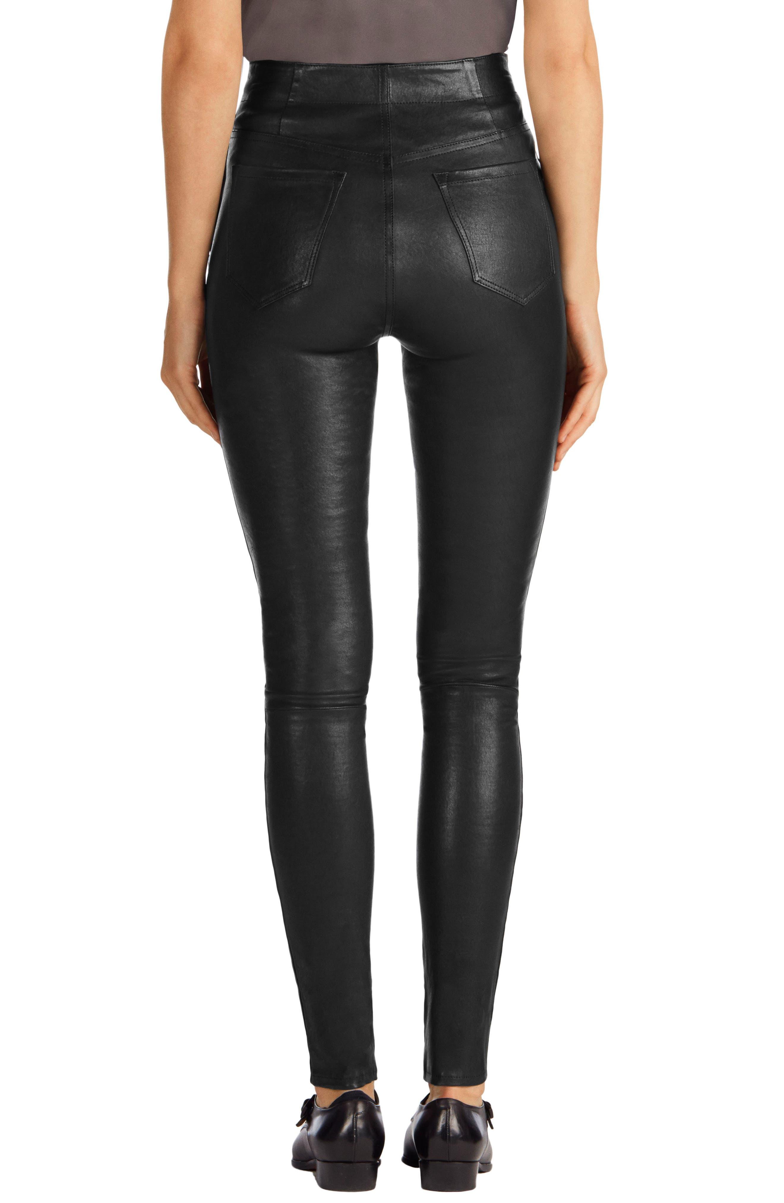 ,                             Natasha High Waist Skinny Leather Pants,                             Alternate thumbnail 3, color,                             BLACK
