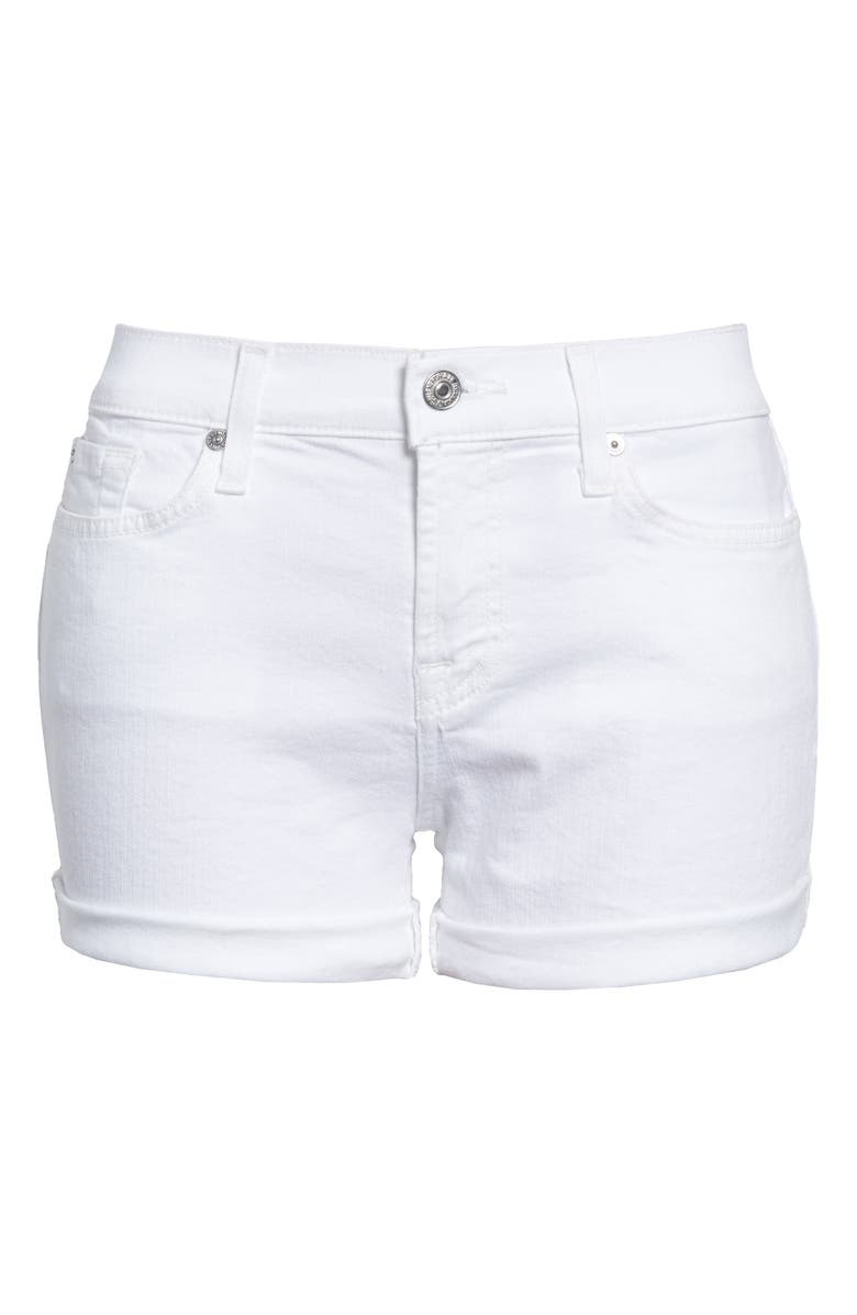 7 FOR ALL MANKIND<SUP>®</SUP> Cuffed Denim Shorts, Main, color, CLEAN WHITE