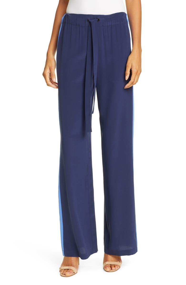 DVF Ellington Side Stripe Drawstring Silk Pants, Main, color, NEW NAVY/ BAJA BLUE